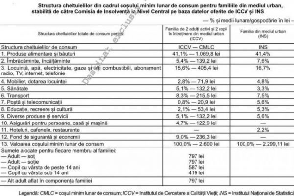 Studiu al Guvernului României: O familie cu un copil poate trăi rezonabil cu 2.600 de lei